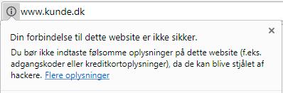 Ikke sikker http site - SSL certifikat