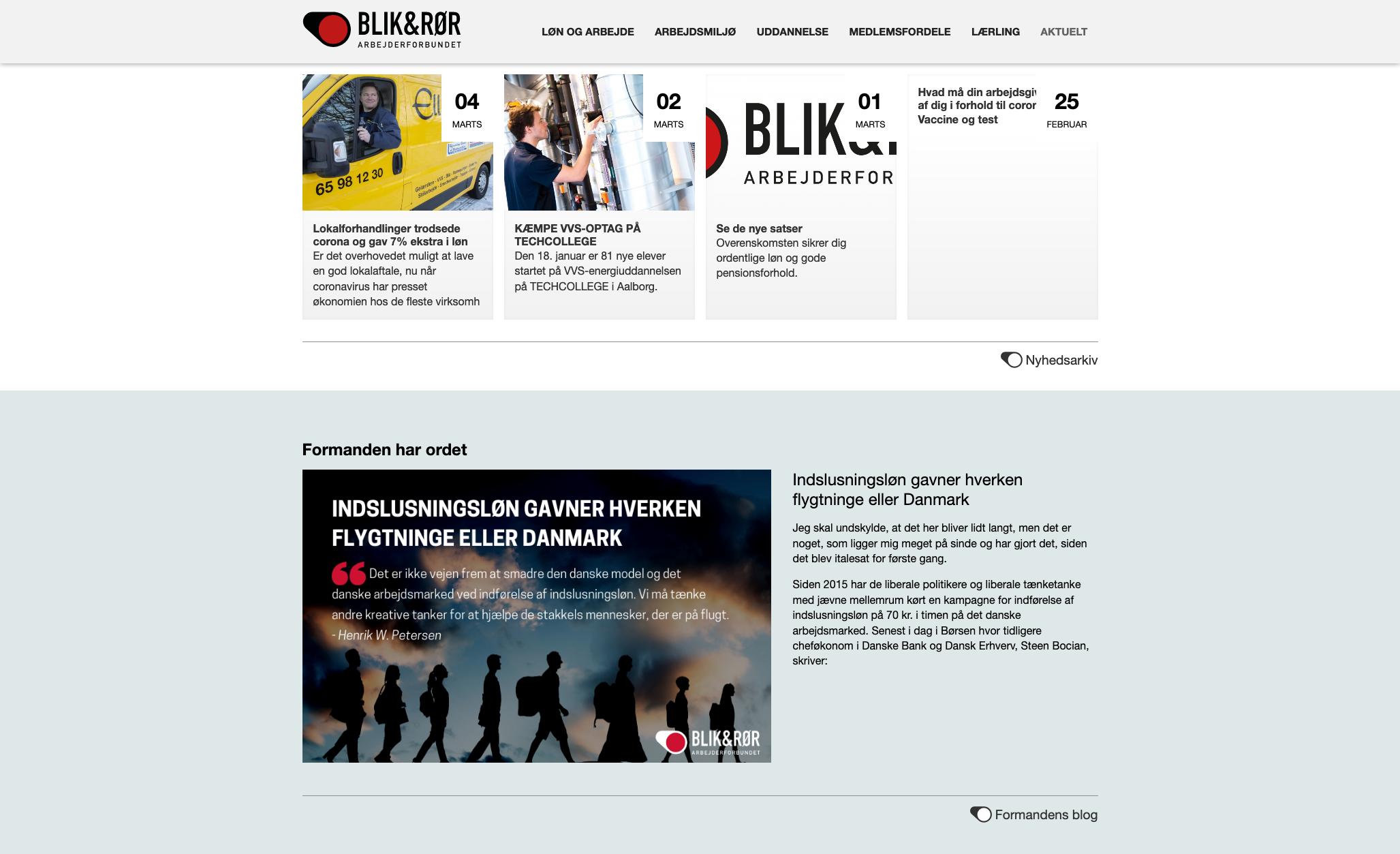 Skriv nyheder og andre events på hjemmesiden