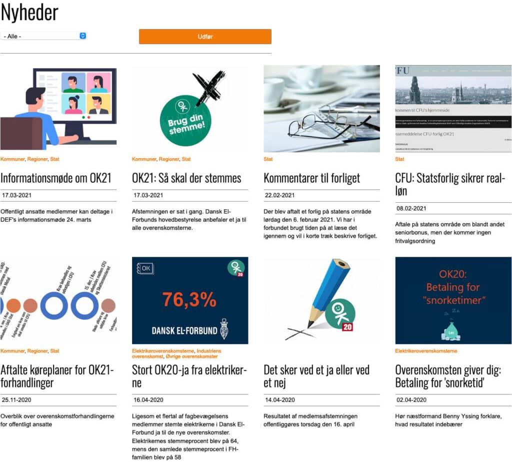 Nyhedsflow på hjemmeside opsat i grid